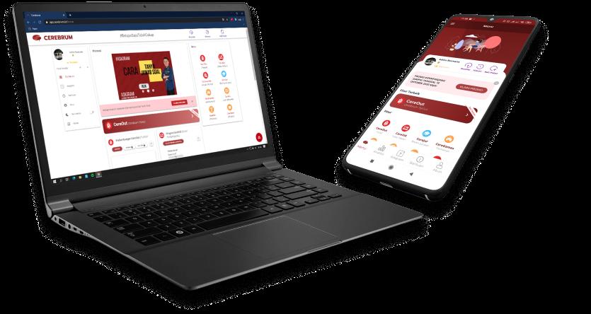 aplikasi cerebrum dapat diakses dari smartphone maupun website di komputer